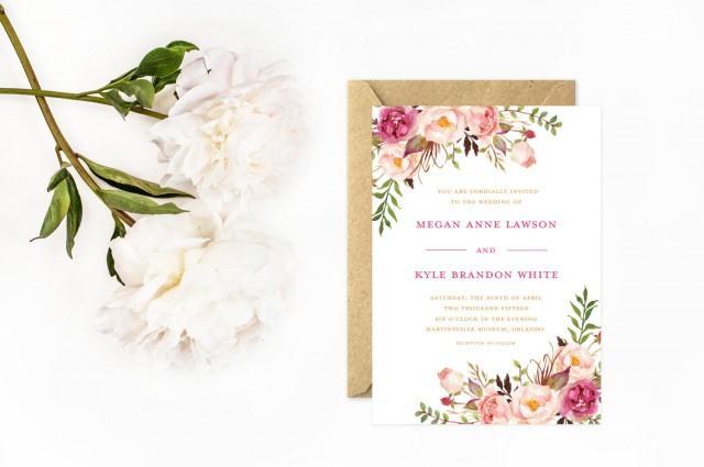 Boho Wedding Invitations Hand Painted Flower Invitations