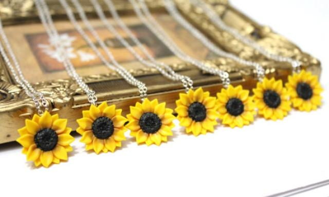wedding photo - SET of 3.4.5.6.7.8. Sunflower Necklace, Sunflower Jewelry, Yellow Sunflower Bridesmaid, Sunflower Flower Bridal Flowers, Bridesmaid Necklace