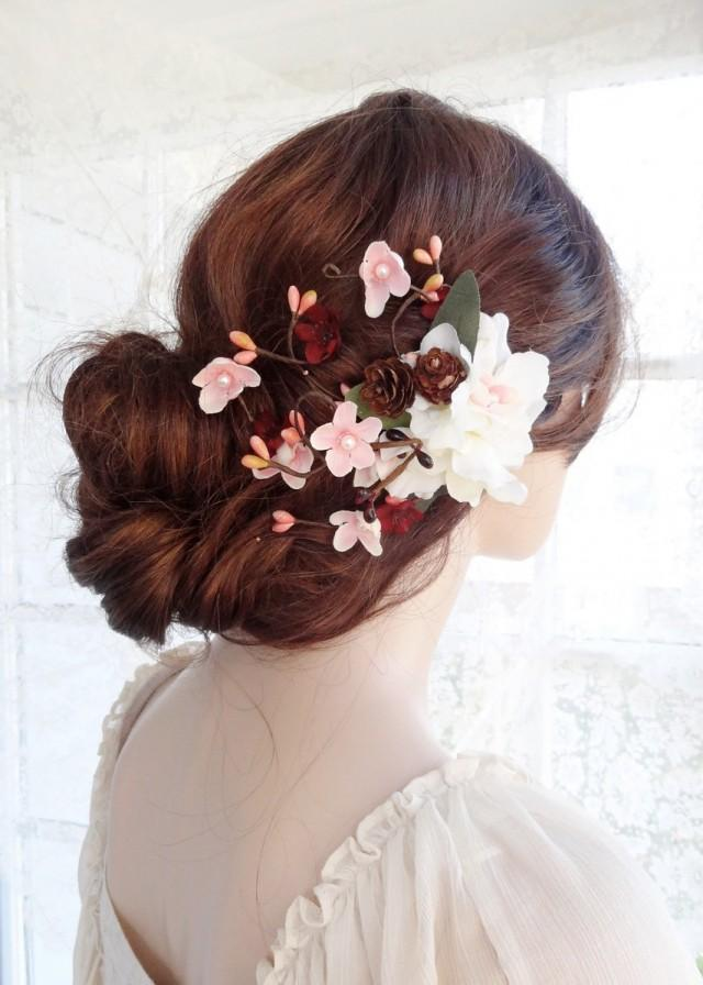 Bridal Flower Hair Clip Bridal Hair Flower Bridal Hair Accessories Burgundy Hair Flower