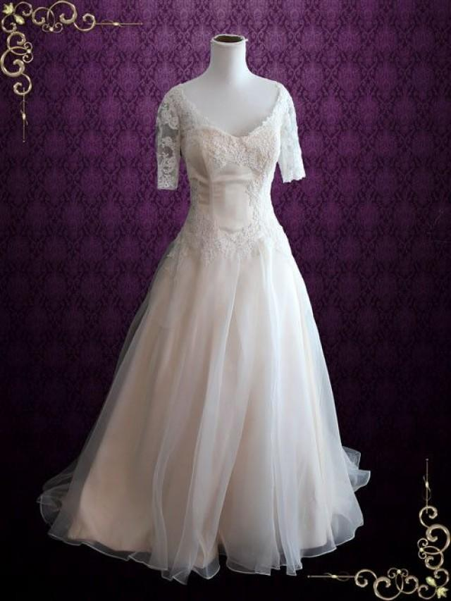 Ball Gown Wedding Dresses With Short Sleeves : Organza lace ball gown wedding dress with short sleeves