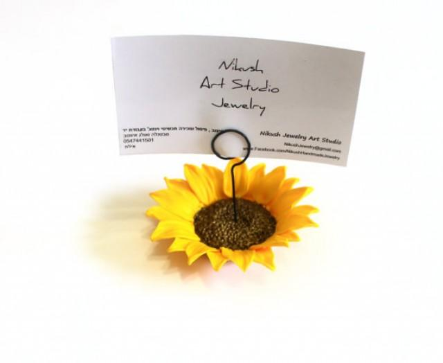 wedding photo - Place Card Holders Sunflower, Table of Table Decor, Sunflower Wedding, Rustic Wedding Decor, Wedding Table Flowers set of 10