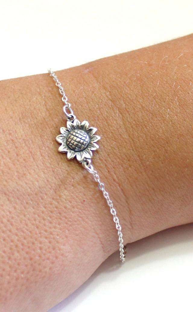 wedding photo - Sterling Silver Sunflower Bracelet, Sunflower Bracelet, Bridesmaid Jewelry, Sunflower Jewelry, Summer Jewelry, sun flower