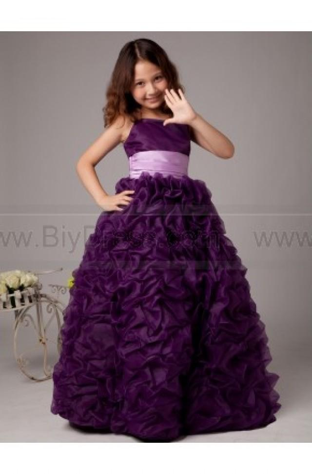 wedding photo - Spaghetti Straps A Line Cascading Ruffles Flower Gilrs Gowns