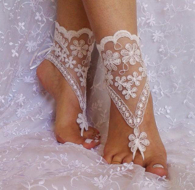 wedding photo - ivory Beach wedding barefoot sandals
