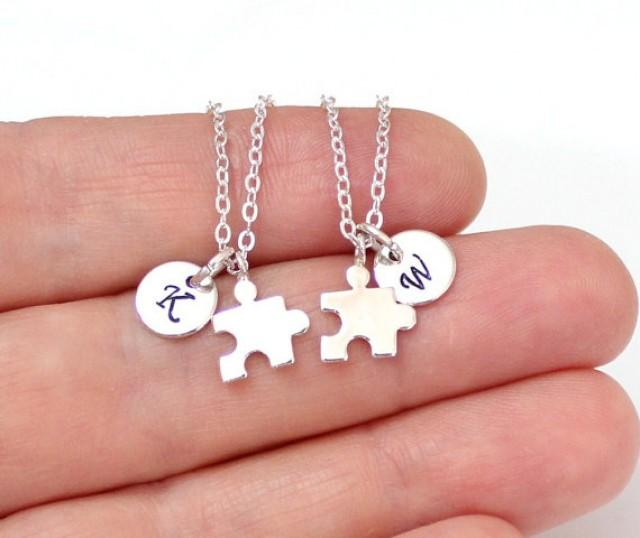 wedding photo - Set of Gold or Silver Best Friends, Puzzle Piece Necklaces, Silver BFF Puzzle Piece Charms, Initial Necklace,Personalized Stamped Initial