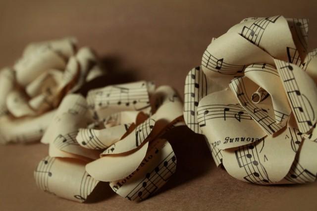 One dozen sheet music roses twelve 2 inch handmade for Paper roses sheet music free