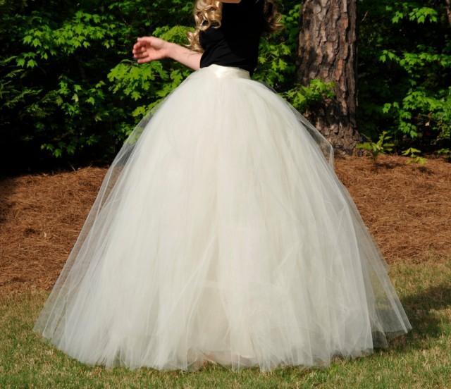 Wedding maxi tulle skirt floor length tutu skirt adult for How to make a long tulle skirt for wedding dress