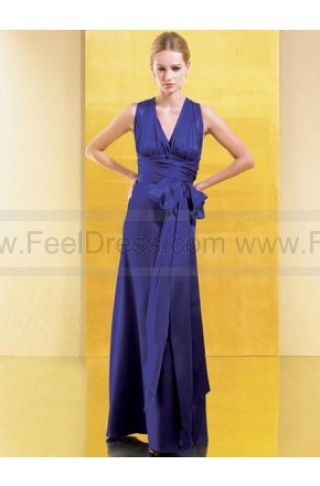 wedding photo - A-line V-neck Purple Ruffles Elastic Woven Satin Sleeveless Ankle-length Mother of the Bride Dress