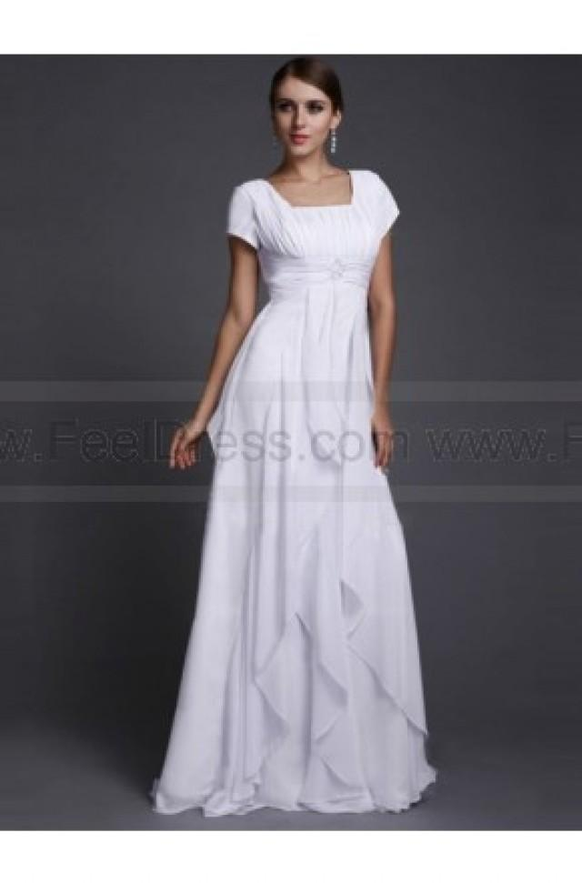 wedding photo - A-line/Princess Bateau Short Sleeves Ruffles Floor-length Chiffon Dress