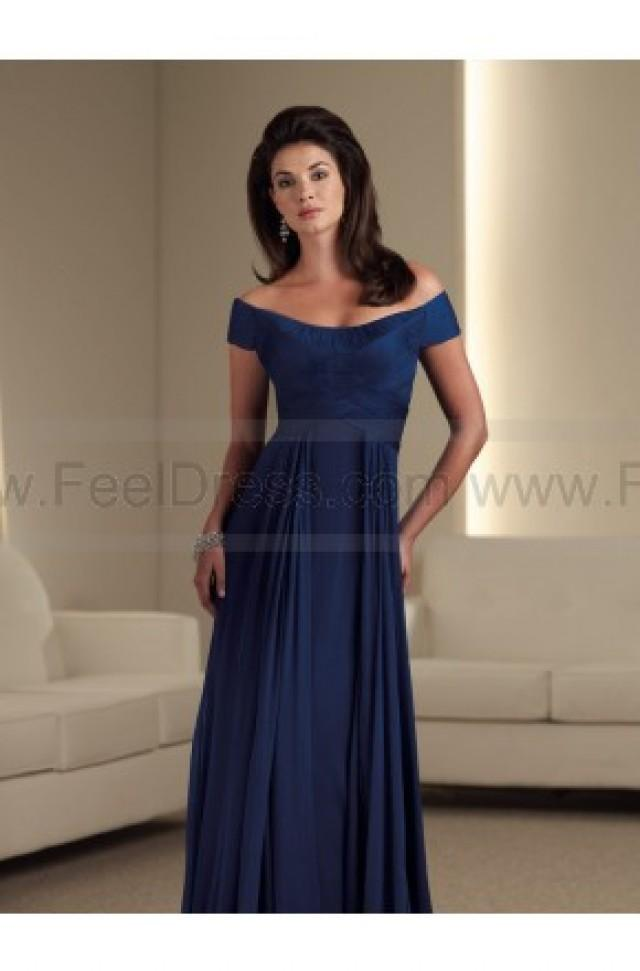 wedding photo - A-line Floor-length Off-the-shoulder Chiffon Royalblue Mother of the Bride Dress