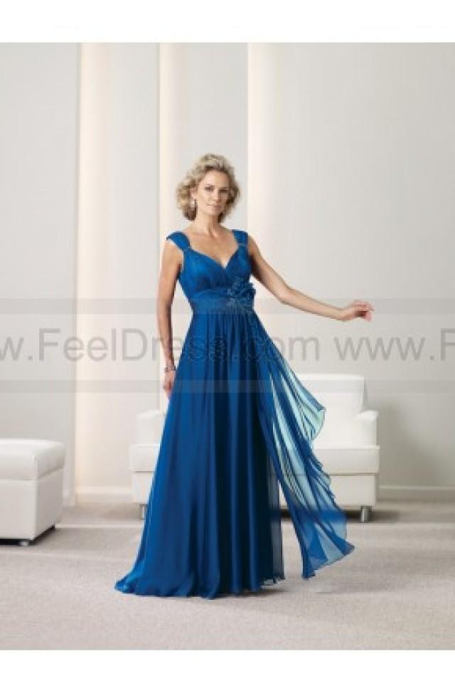 wedding photo - A-line Floor-length V-neck Chiffon Royalblue Mother of the Bride Dress