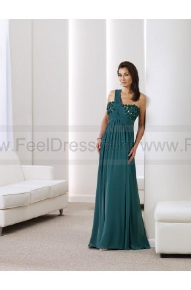 wedding photo - Sheath/Column Floor-length One Shoulder Chiffon Darkgreen Mother of the Bride Dress