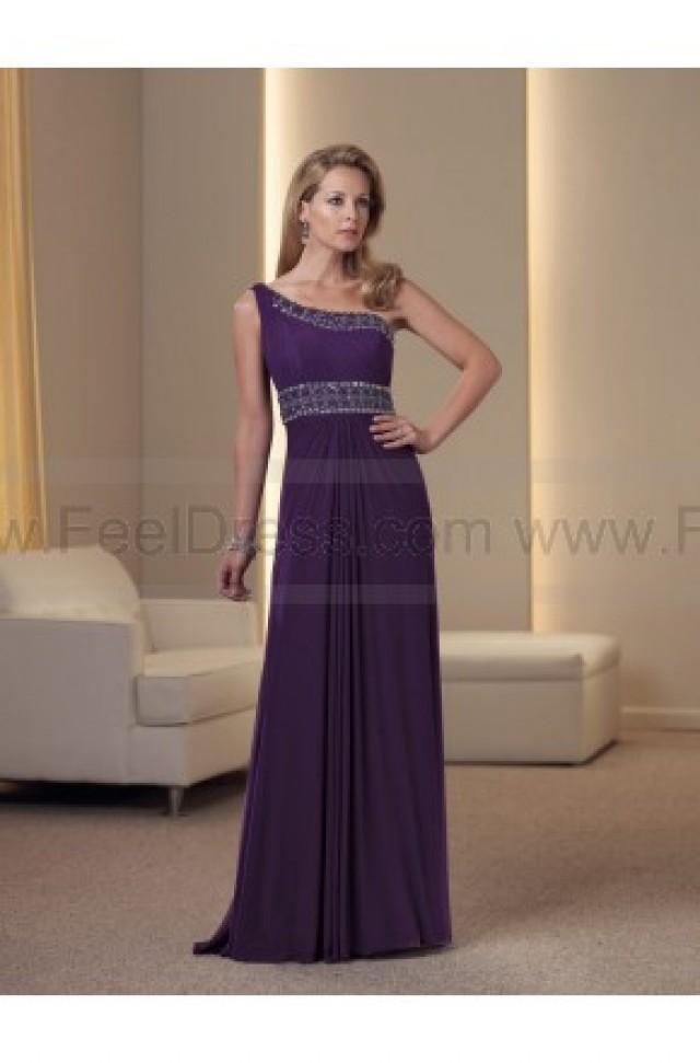 wedding photo - A-line Floor-length One Shoulder Chiffon Purple Mother of the Bride Dress