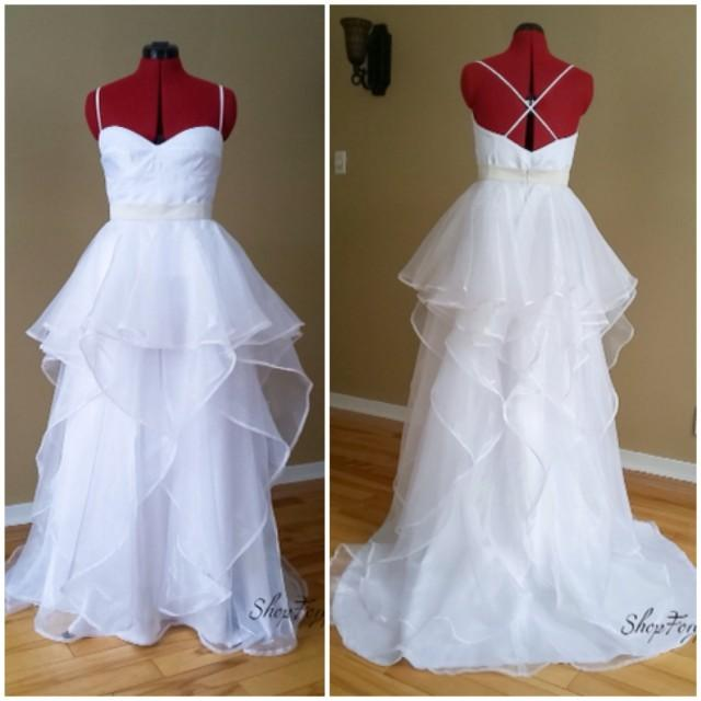 Country boho wedding bridal separates ruffle organza for Fluffy skirt under wedding dress
