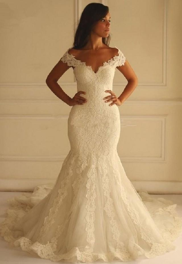wedding photo - Princess Mermaid Wedding Dress, Beach Wedding Dress, Vintage Lace Sweetheart Neck  Lace Wedding Dress Off Shoulder Regular and Plus Sizes