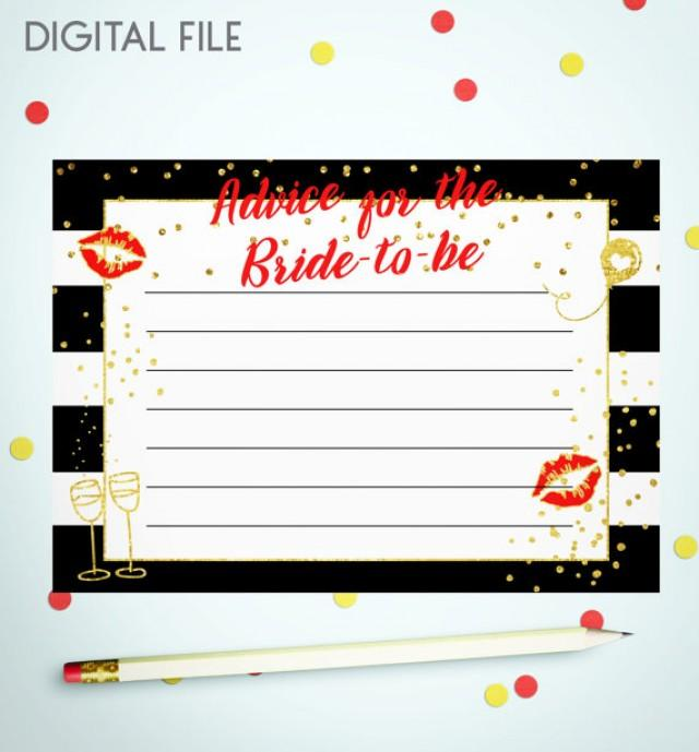 wedding photo - Advice For The Bride To Be Red Gold Confetti Printable Card Bridal Shower Advice Cards Wedding Advice For The Bride game idkbg4