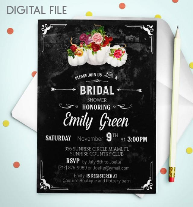 wedding photo - Bridal Shower invitation Bridal Shower Invitation Printable Chalkboard Bridal Shower Invitation download pumpkin Bridal Shower Invite idb45