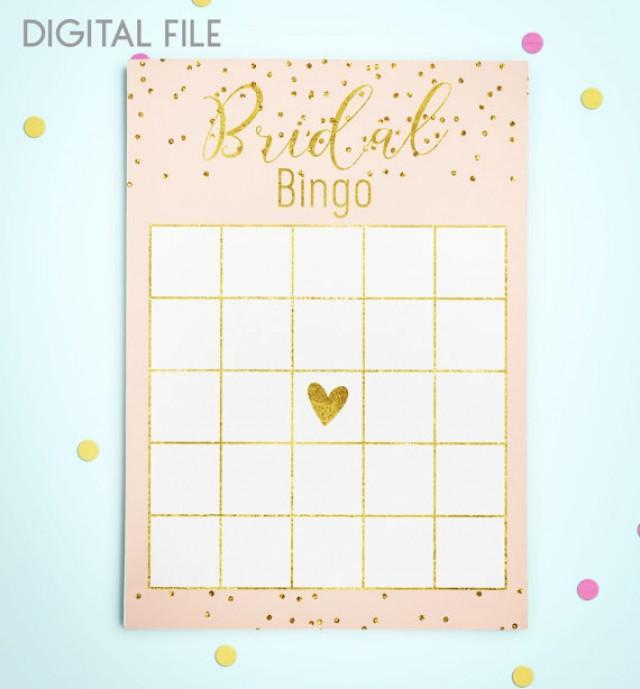 wedding photo - Bingo Game Download Bridal Bingo Gold Foil Confetti Bridal Shower Bingo Pink Printable Bridal Shower Bingo Game Instant Download idkbg2