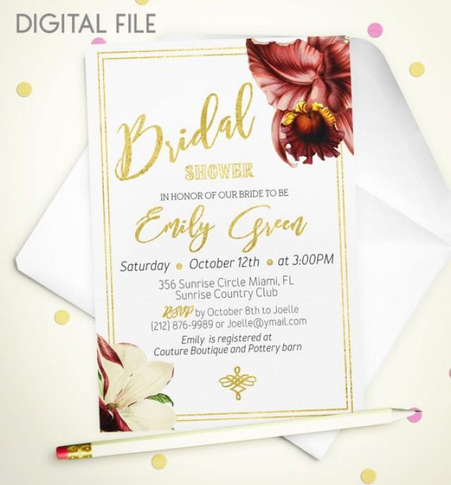 wedding photo - Bridal Shower Invitation Marsala Printable invite Bridal Shower classic Gold Foil Shower Invitation Orchid Bridal Shower Invite idb42