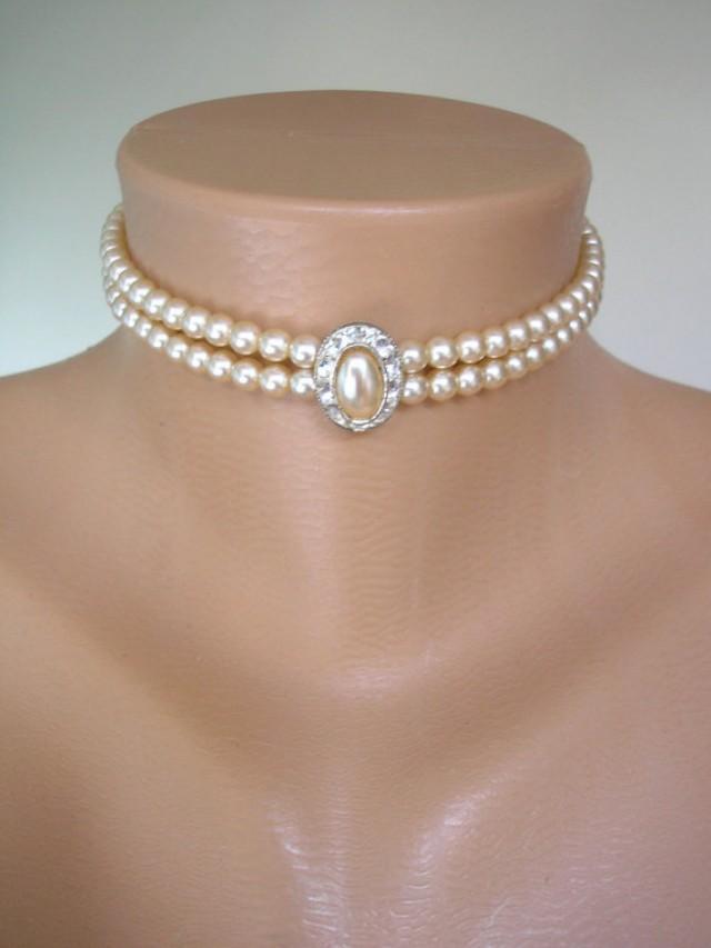 wedding photo - Pearl Choker, Pearl Necklace, Great Gatsby, 2 Strand, Cream Pearls, Vintage Wedding, Bridal Choker, Art Deco, Edwardian Style, Rhinestone