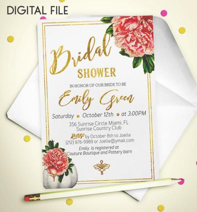 wedding photo - Bridal Shower Invitation Romantic Printable invite Bridal Shower Foil Shower Invitation Peony pumpkin classic Bridal Shower Invite idb43