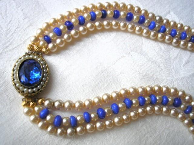 wedding photo - Cobalt Blue Necklace, Blue Pearl Choker, Mother of the Bride, Great Gatsby, Statement Necklace, Wedding Necklace, Blue Bridal Jewelry, Deco