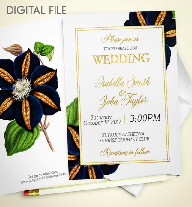 wedding photo - Wedding Invitation Printable Floral Wedding Invitation Foil winter invitation Gold Wedding Retro Navy Invite Fall Wedding Invitation idw5