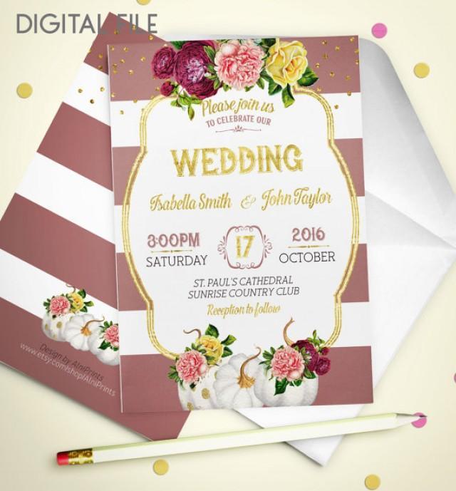 wedding photo - Wedding Invitation Printable pumpkin Rustic retro Wedding Invitation Glitter Gold Wedding Purple Fall Wedding Invitation Invite idw4
