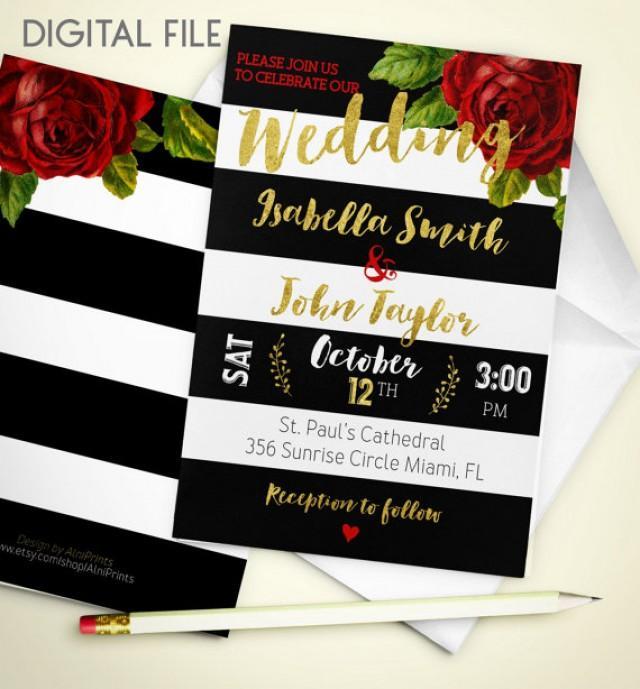 wedding photo - Wedding Invitation digital download Printable Red Rose Wedding Invitation Gold Wedding stripe Fall Wedding Invitation Invite idw3