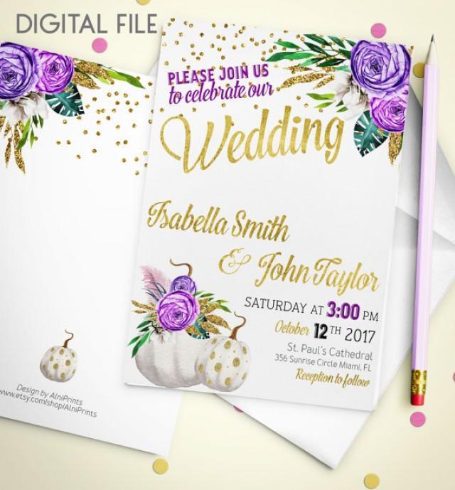 wedding photo - Wedding Invitation Printable pumpkin Wedding Invitation Glitter Confetti Gold Wedding Purple Fall Wedding Invitation Invite idw2