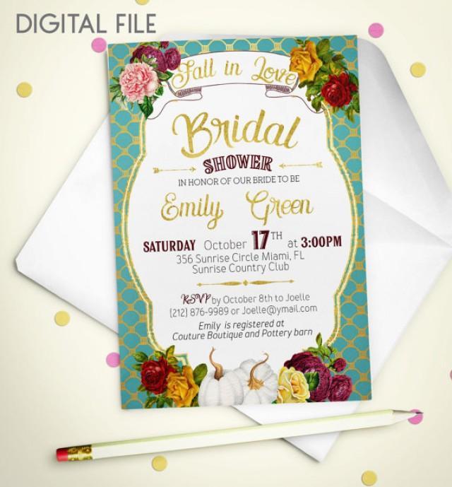 wedding photo - Fall in love Bridal Shower Invitation Printable pumpkin Rustic retro Bridal Shower Gold Shower Invitation Wine Bridal Shower Invite idb36