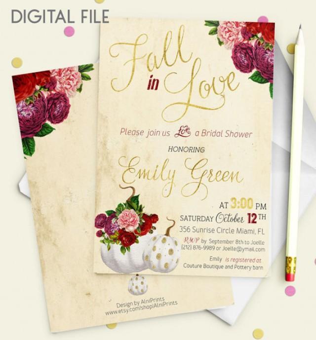 wedding photo - Fall in love Bridal Shower Invitation Printable pumpkin Bridal Shower Burgundy Gold Shower Invitation Wine Bridal Shower Invite idb36