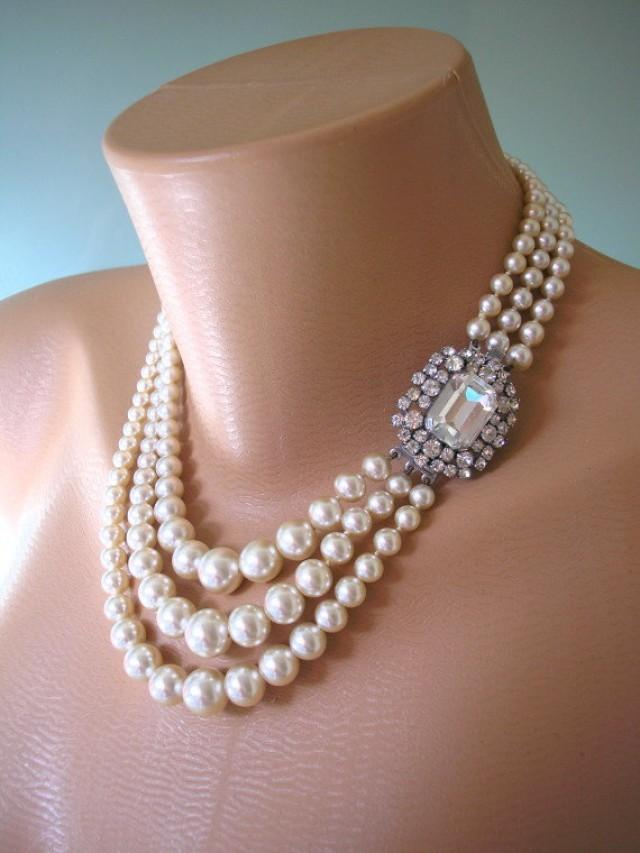 wedding photo - Pearl Necklace, Mother of the Bride, Great Gatsby Jewelry, Statement Necklace, Pearl Choker, Wedding Necklace, Bridal Jewelry, Art Deco