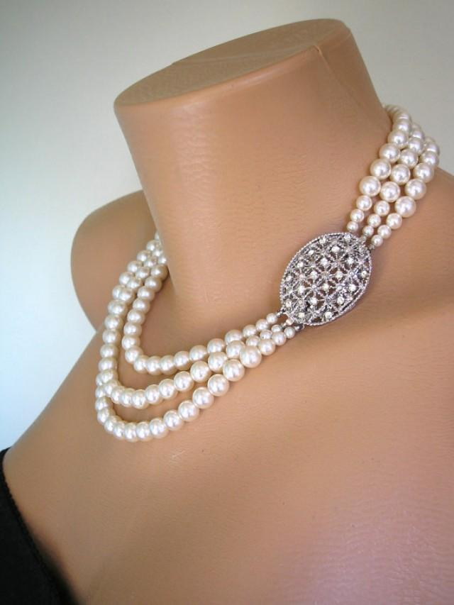 wedding photo - Pearl Necklace Mother of the Bride Great Gatsby Jewelry Statement Necklace Pearl Choker Wedding Necklace Bridal Jewelry Art Deco