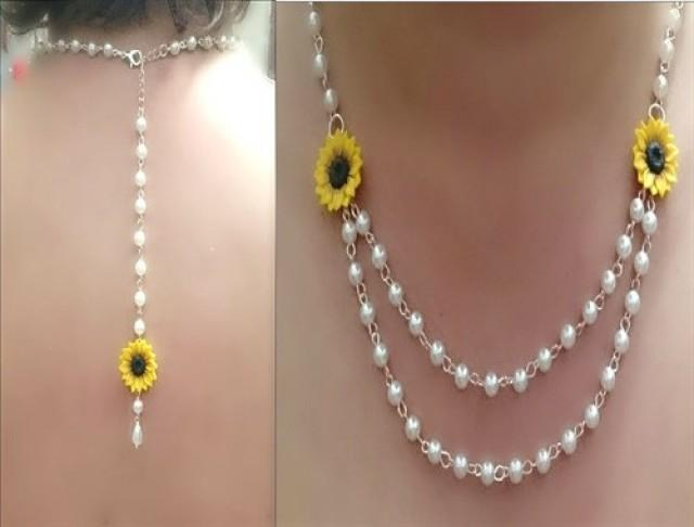 wedding photo - Sunflower Necklace, Backdrop Necklace, Sunflower Jewelry, Gifts Yellow Sunflower Bridesmaid, Flower and Pearls Necklace, Bridesmaid Necklace