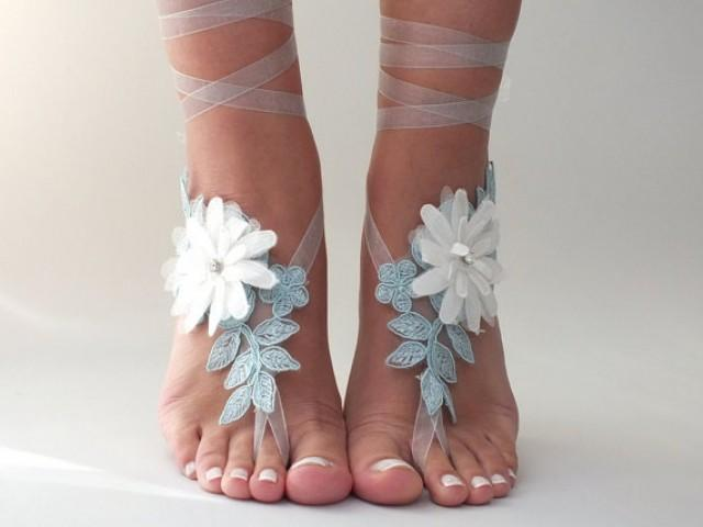 wedding photo - Free Ship blue ivory floral sandals country wedding beach wedding barefoot sandals floral bridesmaid gift unique foot accessory