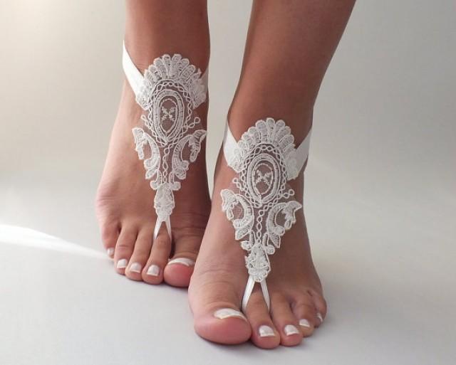 wedding photo - Free Ship Beach wedding barefoot sandals, ivory Barefoot , french lace sandals, wedding anklet,