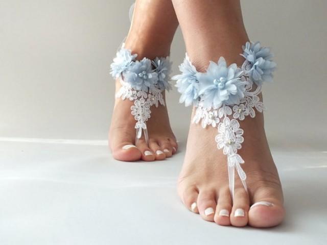 wedding photo - Free Ship white lace beach wedding barefoot sandals, light blue flowers sandals, Barefoot Sandals, anklet, belly dance wedding photography