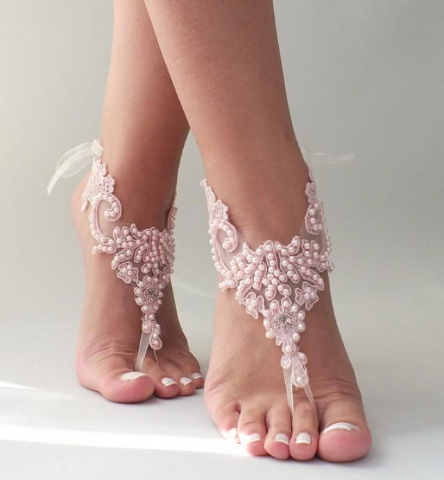 wedding photo - Free Ship pink lace barefoot sandals , pearl beaded embroidered lace sandals Beach wedding barefoot sandals handmade