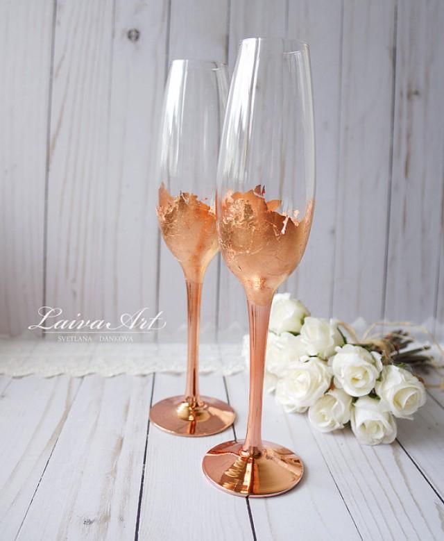 wedding photo - Wedding Champagne Flutes Champagne Glasses Rose Gold Wedding Toasting Flutes