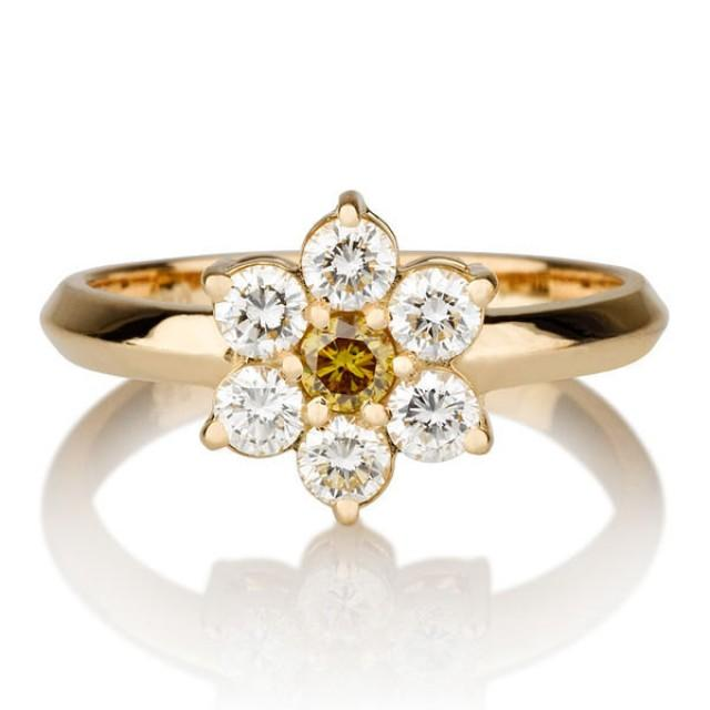 Flower Shape Yellow Diamond Ring 14K Gold Ring TCW Yellow