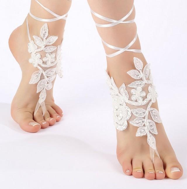 wedding photo - White , ivory lace barefoot sandals wedding barefoot , lace sandals Beach wedding barefoot sandals , White barefoot sandals