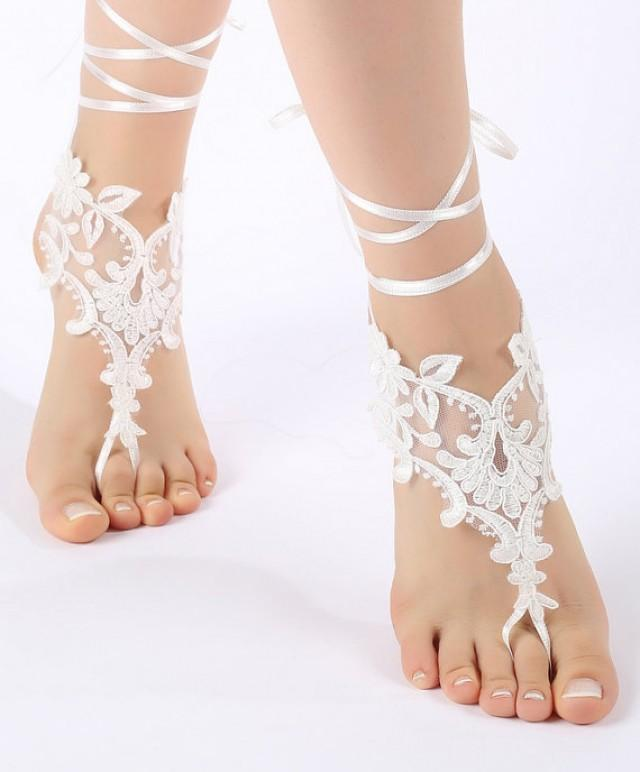 wedding photo - Free Ship Beach wedding barefoot sandals Beach shoes, bridal sandals, lace sandals, wedding bridal, ivory accessories, summer wear