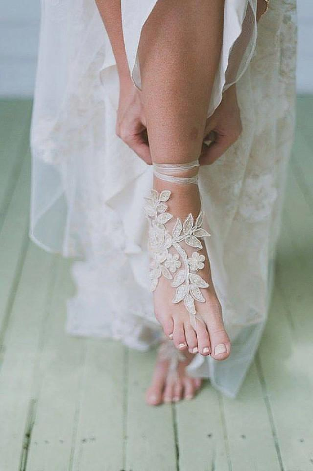 wedding photo - Free ship Champagne ivory white Beach wedding barefoot sandals, french lace sandals, wedding anklet, Beach wedding barefoot sandals,