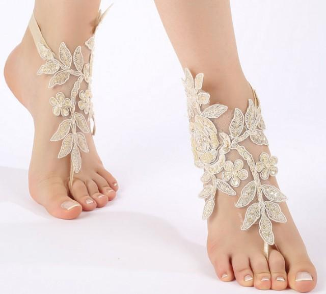 wedding photo - Free ship champagne ivory white Barefoot Sandals, french lace, shoes, Gothic, Wedding, beach wedding barefoot sandals