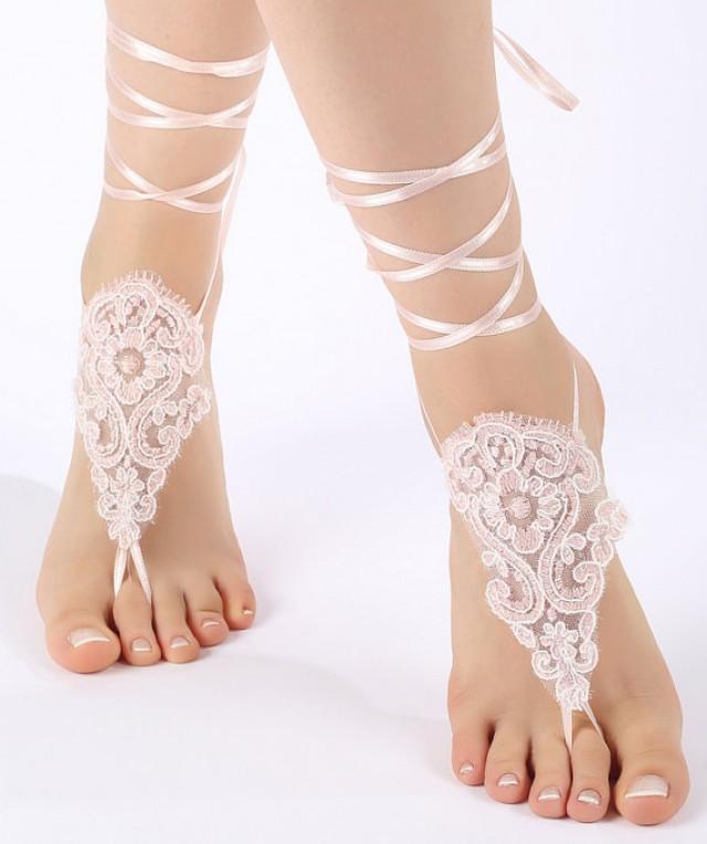 wedding photo - Free Ship ivory or blush , lariat sandals, laceBarefoot Sandals, french lace, Beach wedding barefoot sandals