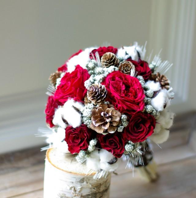 Winter Wedding Flower Ideas: Wed In Winter Dried Flower Bouquet, Preserved Red Roses