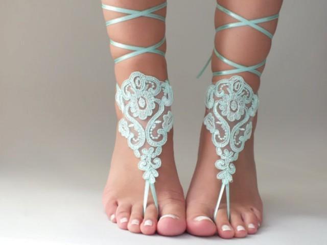wedding photo - Mint Beach wedding barefoot sandals lace barefoot sandals, lace sandals, beach shoes, bridesmaid gifts