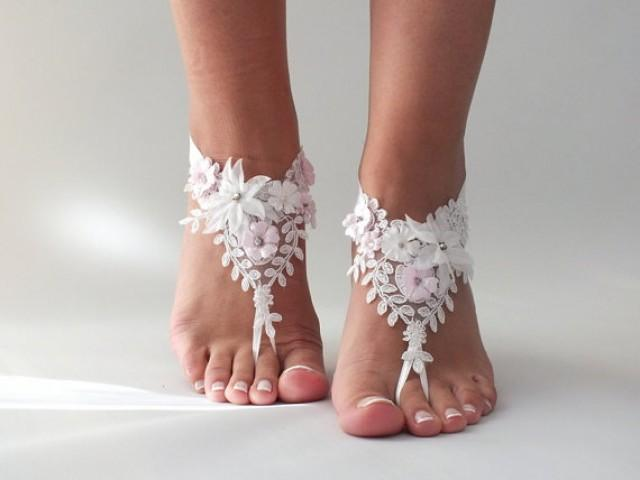 wedding photo - Beach wedding barefoot sandals FREE SHIP sandals, ivory Barefoot , french lace sandals, wedding anklet,