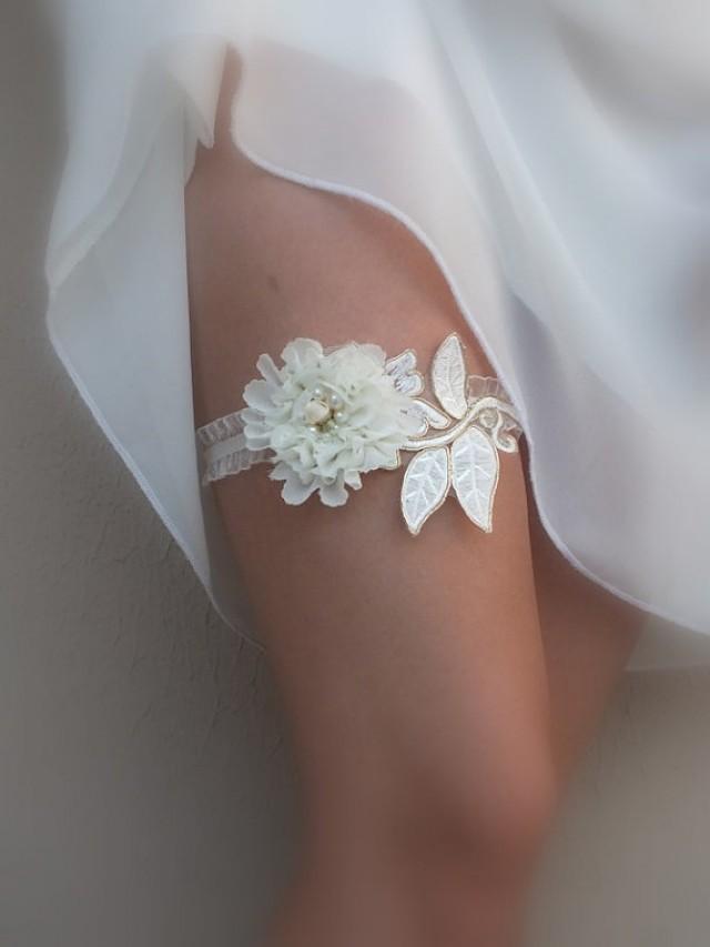wedding photo - free ship ivory gold lace garter , 3D floral garter bridal garter, floral garter, garter, floral garter, toss garter, wedding garter